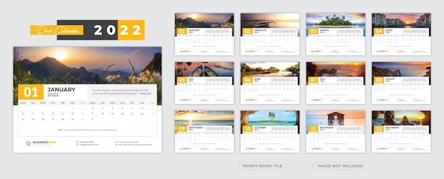 Sjabloon voor bureaukalender 2022
