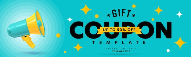 Sjabloon voor cadeaubonnen met tot 50 procent korting in beperkte tijd