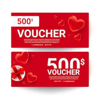 Sjabloon voor cadeaubonnen voor winkelbonnen met een realistisch liefdesdecor en nummers van 500 dollar.