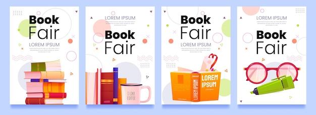 Sjabloon voor cartoon boekenbeurs flyers