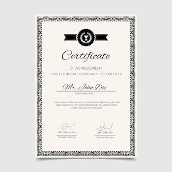 Sjabloon voor certificaat van prestatie graveren