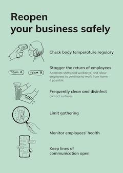 Sjabloon voor coronavirus-begeleiding op de werkplek, vector heropenen veiligheidsmaatregelen voor bedrijven