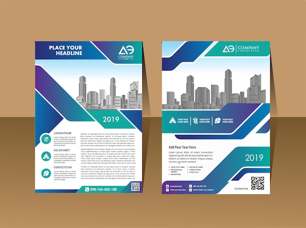 Sjabloon voor corporate flyer lay-out met moderne vorm