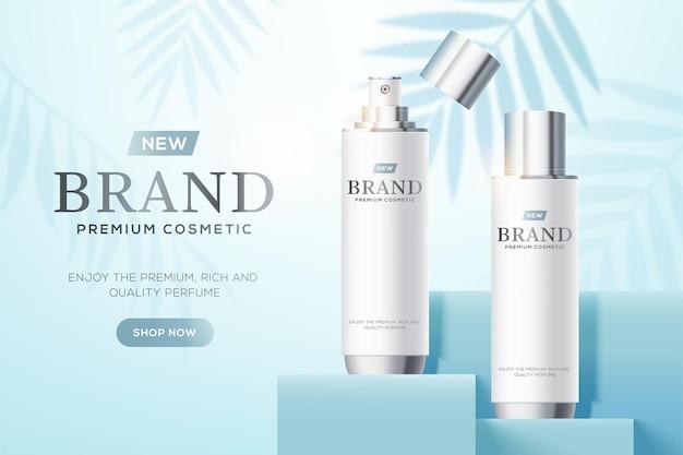 Sjabloon voor cosmetische advertenties met witte flessen op blauw vierkant podium