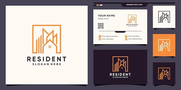 Sjabloon voor creatief onroerend goed-logo met vierkante stijl en visitekaartjeontwerp premium vector