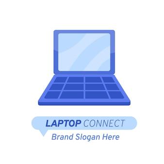 Sjabloon voor creatief plat laptop-logo