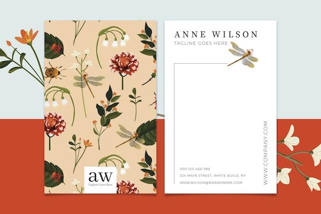 Sjabloon voor creatief visitekaartjes met vintage bloemen