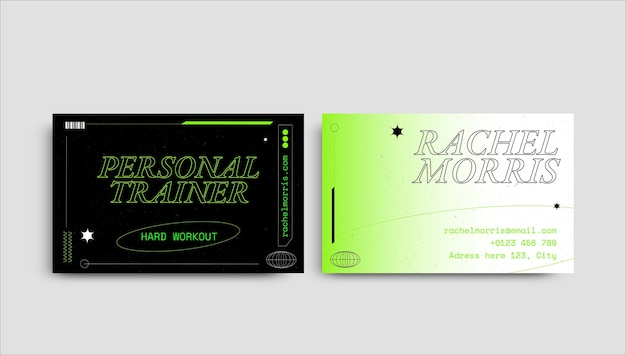 Sjabloon voor creatieve futuristische trainersport visitekaartjes