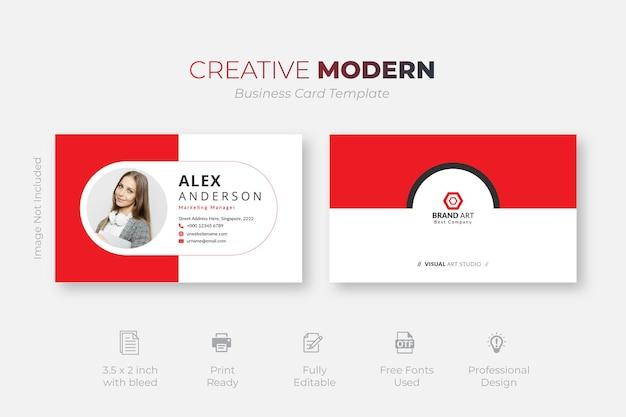 Sjabloon voor creatieve rode visitekaartjes