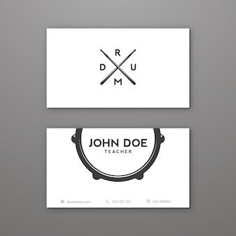 Sjabloon voor creatieve visitekaartjes van drumschool of drumlessen. visitekaartje.