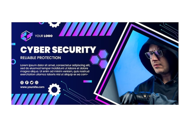 Sjabloon voor cyberveiligheid horizontale spandoek