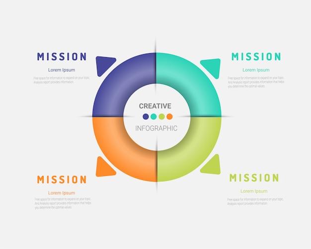 Sjabloon voor cyclusdiagram, grafiek, presentatie en ronde grafiek. bedrijfsconcept.