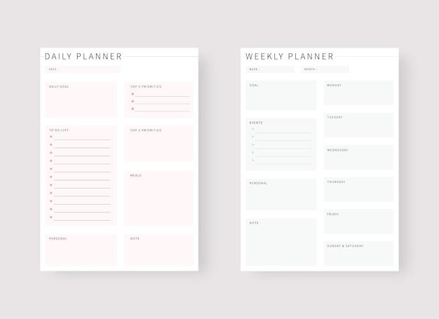 Sjabloon voor dagelijkse en wekelijkse planner set van planner en takenlijst