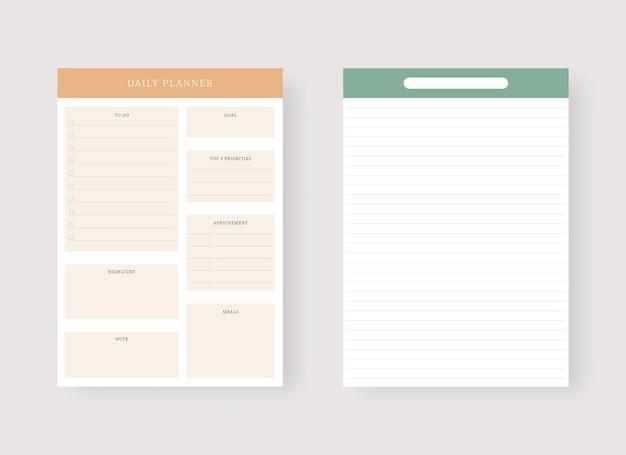 Sjabloon voor dagelijkse planner set van planner en takenlijst