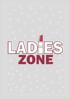 Sjabloon voor dameszone concept vectorillustratie in grijs en rood