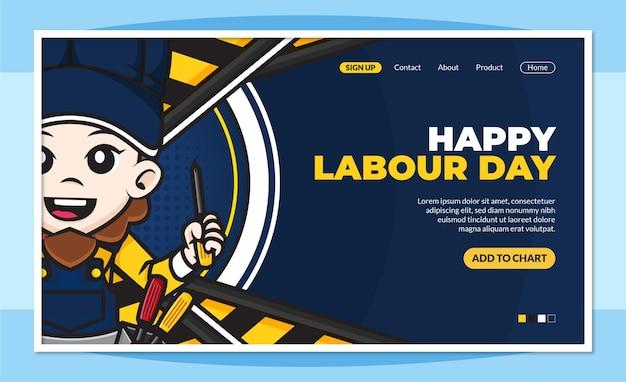 Sjabloon voor de bestemmingspagina van de gelukkige dag van de arbeid met schattig stripfiguur van werknemers