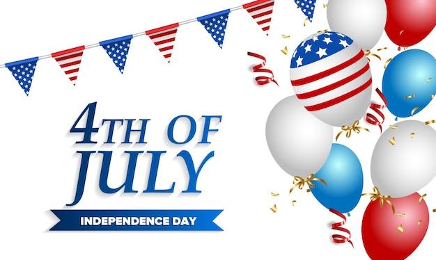 Sjabloon voor de dag van de onafhankelijkheid van de vs. amerikaanse vlag ballonnen decor. viering van juli