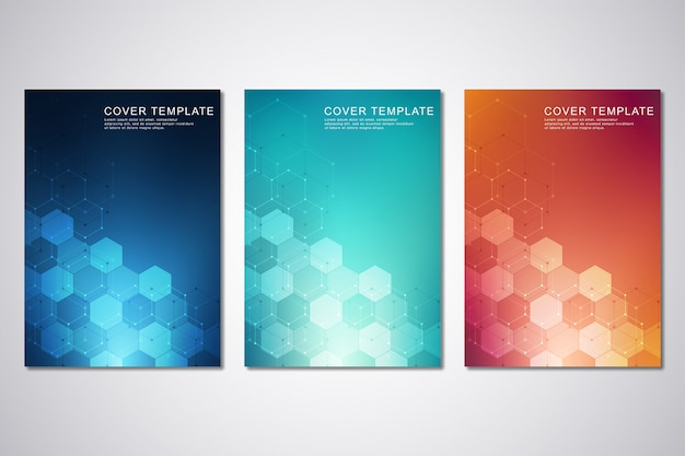 Sjabloon voor dekking of brochure, met zeshoeken en technologische achtergrond.