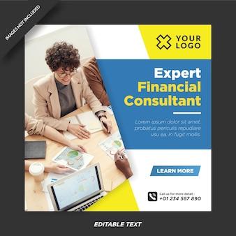 Sjabloon voor deskundige financiële adviseur instagram en sociale media