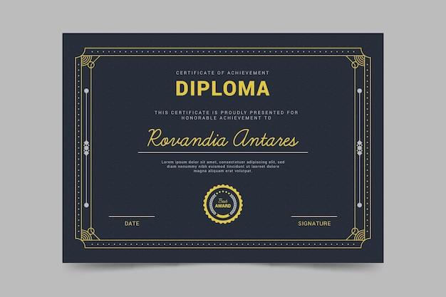 Sjabloon voor diploma-certificaat