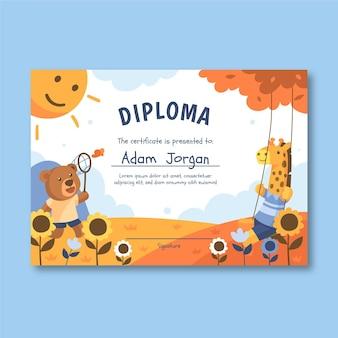 Sjabloon voor diploma voor kinderen