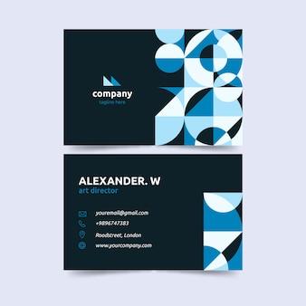 Sjabloon voor donkere achtergrond en gradiënt blauw visitekaartje