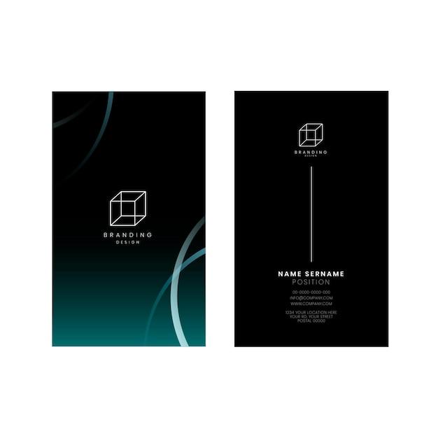 Sjabloon voor donkere visitekaartjes, verticale richting