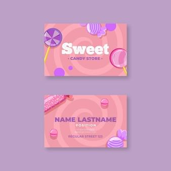 Sjabloon voor dubbelzijdig horizontaal visitekaartjes van snoep
