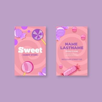 Sjabloon voor dubbelzijdig verticaal visitekaartjes van snoep