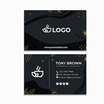 Sjabloon voor dubbelzijdige horizontale visitekaartjes van matcha-thee