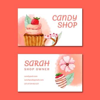 Sjabloon voor dubbelzijdige horizontale visitekaartjes van snoep