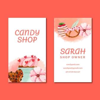 Sjabloon voor dubbelzijdige verticale visitekaartjes van snoep