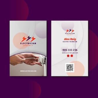 Sjabloon voor dubbelzijdige verticale visitekaartjes voor elektricien Premium Vector