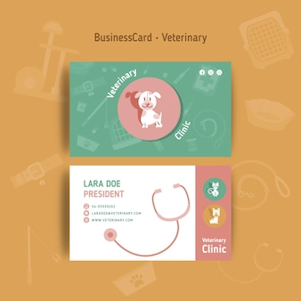 Sjabloon voor dubbelzijdige veterinaire visitekaartjes