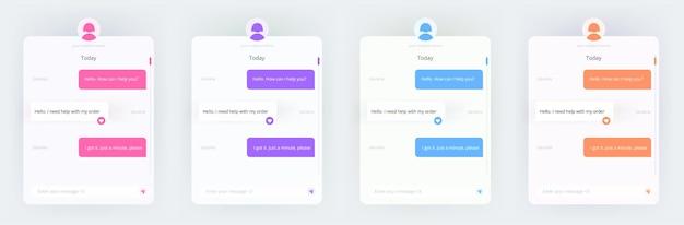 Sjabloon voor een chat met een bot. de berichten met een wireframe. set van de kleurrijke en neon ontwerpen. een online dokter-messenger-venster. vector geïsoleerde collectie.