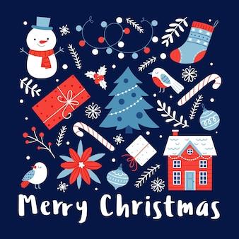 Sjabloon voor een kerstkaart met een boom, een huis, een sneeuwpop en andere feestelijke attributen op een donkere achtergrond.