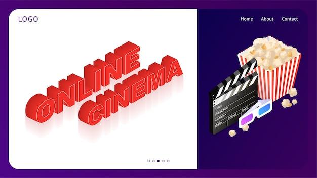 Sjabloon voor een website met online bioscoop bioscoopset online applicatie voor het bekijken van films