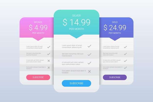Sjabloon voor eenvoudige prijsplannen