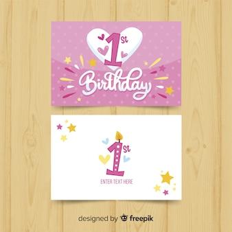 Sjabloon voor eerste verjaardag grote hart kaart