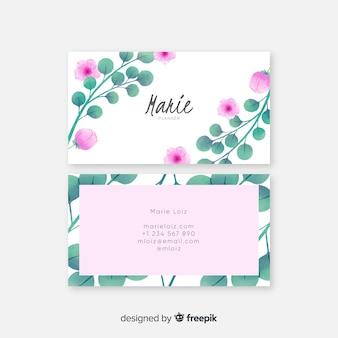 Sjabloon voor elegante aquarel bloemen visitekaartjes
