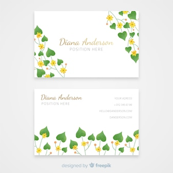 Sjabloon voor elegante bloemen visitekaartjes