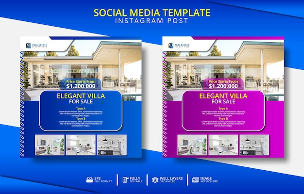 Sjabloon voor elegante villa's en onroerend goed voor sociale media