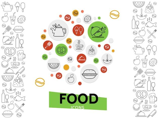 Sjabloon voor eten en drinken met frisdrank, bier, wijn, koffie, dranken, fastfood, vis, zoete producten, fruit, ijs