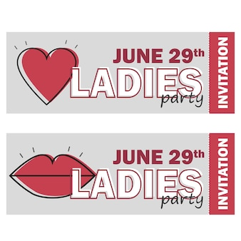 Sjabloon voor flyer voor damesavondfeest, uitnodiging voor vrijgezellenfeest, vectorillustratie in rode en grijze kleuren