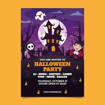 Sjabloon voor flyer voor verticale halloween-feesten met verloop