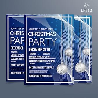 Sjabloon voor flyers van de partij van kerstmis