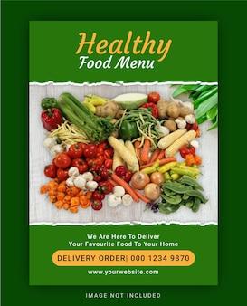 Sjabloon voor folder met gezond voedselmenu