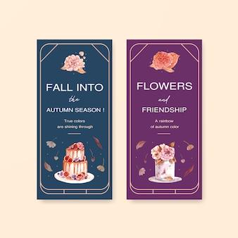 Sjabloon voor folder met herfst bloem conceptontwerp voor brochure en folder