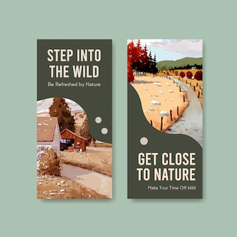 Sjabloon voor folder met landschap in herfst ontwerp