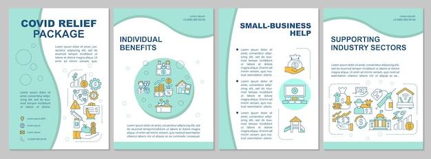 Sjabloon voor folder van covid-reliëfpakket. hulp voor kleine bedrijven. flyer-sjabloon